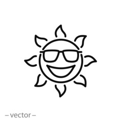 Smiling sun with sunglass character icon, line sign - vector illustration eps10