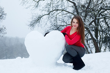 Woman with a snowy heart