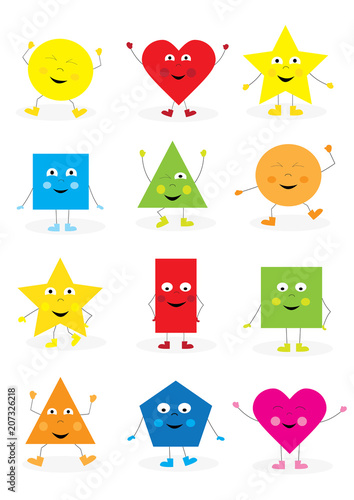 collection of smiling, happy cartoon geometric shapes