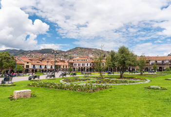 Plaza de Armas (Arms Square), also known as Major Square, a World Heritage Site in the heart of Cusco city, in Peru