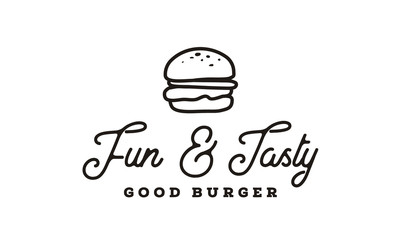 Burger logo design inspiration with Hipster Line Art Drawing style