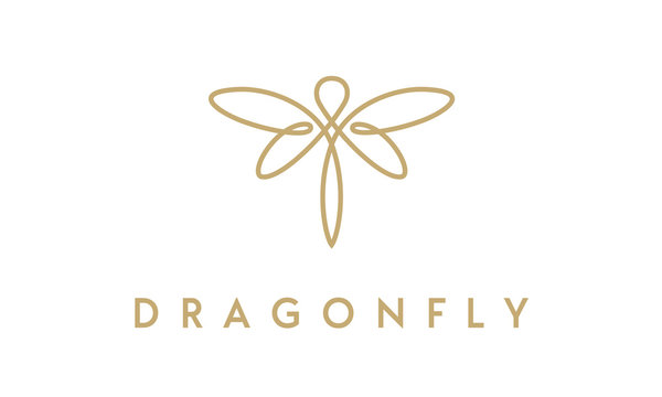 Minimalist elegant Dragonfly logo design with line art style