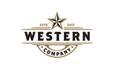 Vintage Retro Western Country Emblem Texas Logo design Wall mural
