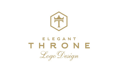 Luxury Vintage Throne logo design inspiration with initial T and Crown