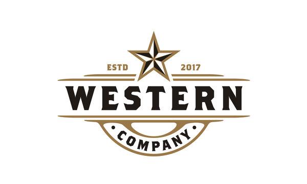Vintage Retro Western Country Emblem Texas Logo design
