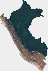 Large (29 MP) satellite image of Peru. Country photo from space. Isolated imagery of Peru. Elements of this image furnished by NASA.