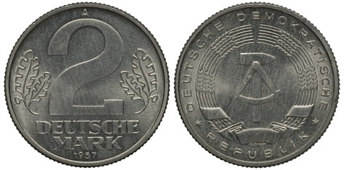 East Germany coin 2 two mark 1957, large figure of denomination flanked by oak leaves, compass and hammer within stylized wreath of ears with long awns, aluminum, Wall mural