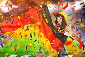 Deutsche Fussballfan Frau Mädchen mit Fahne