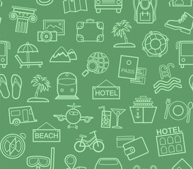 Travel, vacation, tourism, vacation, seamless pattern, outline, green, color, vector. Different types of holidays and ways of travelling. Vector, color background.