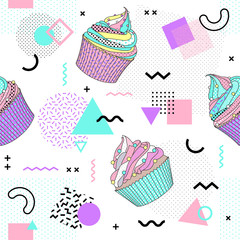 Memphis seamless pattern with cup cake and geometric different shapes colorful 80's-90's style. Vector Illustration