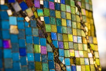 Colorful mosaic texture close-up