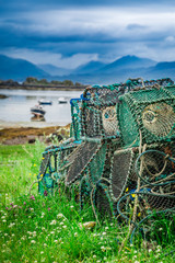 Colored cage to catching lobster on shore, Scotland