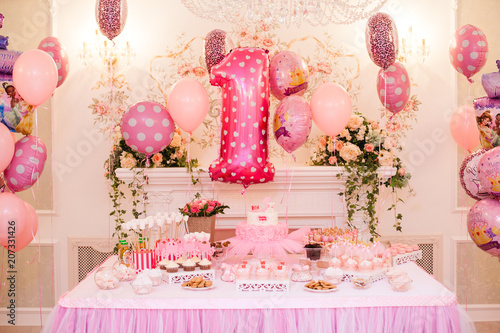 Delicious Pink Candy Bar Of Birthday Party For One Year Old Girl Dessert Table With Colorful Sweets Candies Macaroons