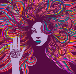 Psychedelic portrait of a hippie woman with colorful hair and an all seeing eye on her hand.