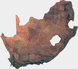Large (27 MP) satellite image of South Africa with internal (provinces) borders. Country photo from space. Isolated imagery of South Africa. Elements of this image furnished by NASA.