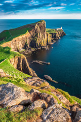 Aluminium Prints Sea Stunning dusk at the Neist point lighthouse, Scotland