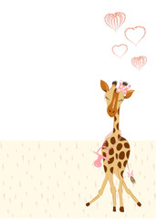 Invitation card for announcement new born with cute giraffe girl - hand drawn vector illustration for print and web