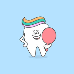 Cartoon tooth with toothpaste and mirror. Healthy teeth icon. Dental care and hygiene concept. Cute vector illustration for children for dentistry.