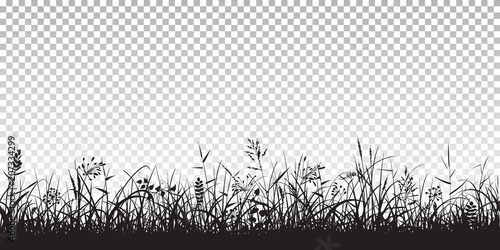 Wall mural Black silhouettes of grass