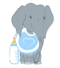 Hand drawn vector illustration with a cute baby elephant with feeding bottle celebrating new birth - isolated on white background
