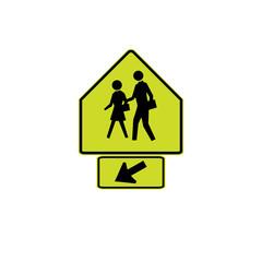 USA traffic road signs. school crossing. vector illustration