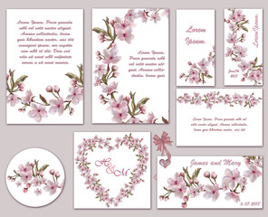 Set of Pink Flower Templates for Wedding and Romantic Event.  Floral Printable Decoration for Announcement, Advertisement, in different shapes. Pink Wedding.
