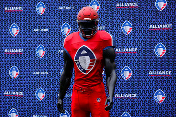 The logo for the Alliance of American Football League is shown on a football mannequin during a media event at SDCCU Stadium where the new league introduced a team and head coach to the eight-team league, set to begin play February 2019, in San Diego
