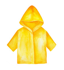 Yellow raincoat with hood and sleeves to wear outdoors in bad rainy weather. Bright and stylish. Hand drawn water color graphic painting on white background, isolated. Beautiful clip art for design.
