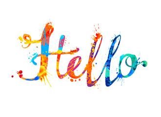 Hello. Hand written splash paint letters