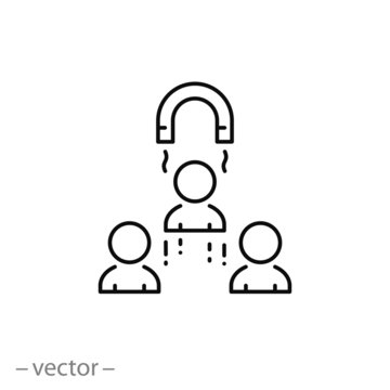 customer retention with magnet icon, line sign - vector illustration eps10