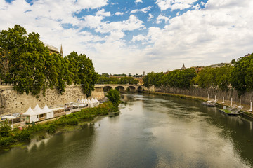 View of Tiber river in Rome, Italy