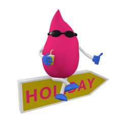 3d-Charakter mit Sonnenbrille sitzt auf einem Schild mit Holiday. 3d render