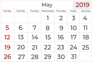 calendar for the year 2019, May