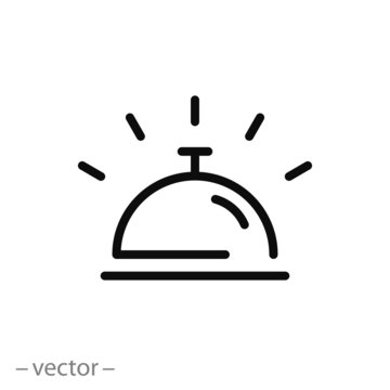 hotel bell sign, line icon - vector illustration eps10