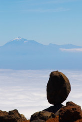 View of a mountain of Pico de la Teide from island of La Palma, Canary islands, Spain