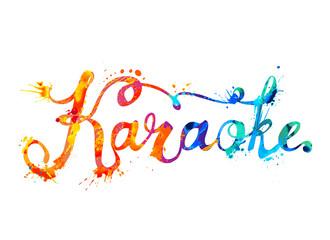 Karaoke. Watercolor splash paint word