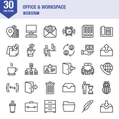 Office And Workspace Line Icon Set