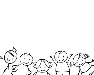 White background with linear boys and girls in children style