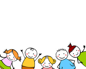White background with boys and girls children style