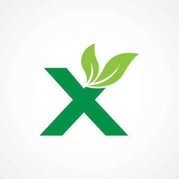 Letter X Leaf Logo Vector Design