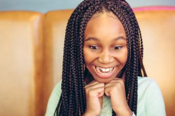 Close up of smiling teenage girl