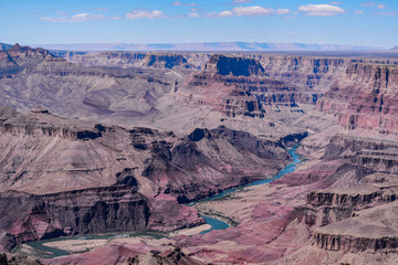 View of a river running through the grand canyon in Arizona.