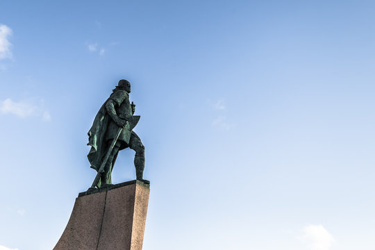 Reykjavik - May 01, 2018: Statue of Leif Erikson in the center of Reykjavik, Iceland
