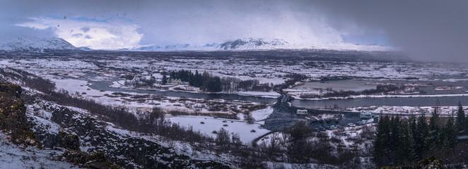 Thingvellir - May 03, 2018: Panorama of Thingvellir National Park, Iceland