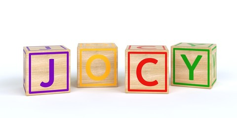 The name jocy written with Isolated wooden toy cubes