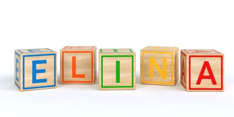 The name elina written with Isolated wooden toy cubes