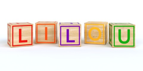 The name lilou written with Isolated wooden toy cubes
