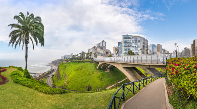 Panoramic view from Miraflores district with Villena Rey Bridge on the side, in Lima, Peru