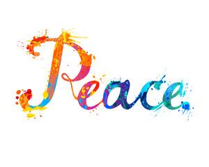 Word Peace. Hand written splash paint letters