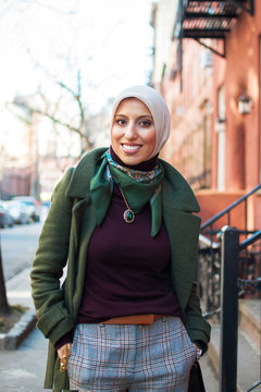 Portrait of young woman wearing hijab